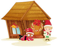 Reindeer and boy celebrating christmas Royalty Free Stock Images