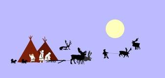 Reindeer breeder. Vector drawing reindeer breeder on north stock illustration
