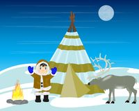 Reindeer breeder on north. Home of the reindeer breeder on north and reindeer royalty free illustration