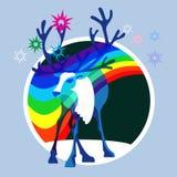 Reindeer and bright Aurora Stock Photo