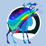 Reindeer and bright Aurora Royalty Free Stock Image