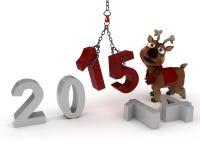 Reindeer Bringing in the New Year. 3D Render of Reindeer celebrating new years Royalty Free Stock Photos