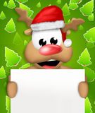 Reindeer Carton Happy with Christmas Hat blank board Royalty Free Stock Photography