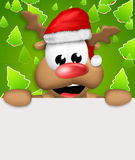 Reindeer Carton Happy with Christmas Hat blank board Stock Photography