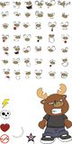 Reindeer cartoon expressions set angry Stock Photo