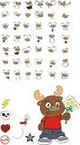Reindeer cartoon expressions set flowers Royalty Free Stock Image