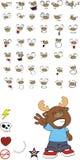 Reindeer cartoon expressions set happy Stock Images