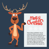 Reindeer cartoon showing or holding blank billboard. Royalty Free Stock Images