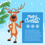 Reindeer cartoon showing or holding blank billboard. Royalty Free Stock Photography