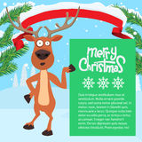 Reindeer cartoon showing or holding blank billboard. Stock Images
