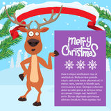 Reindeer cartoon showing or holding blank billboard. Stock Photography