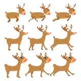 Reindeer, cartoon vector set collection, decoration for kids, baby, animal character isolated on white background illustration vector illustration