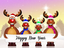 Reindeer celebrate the New Year Stock Photo