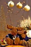 Reindeer at Chrismas. Golden decoration Royalty Free Stock Photography