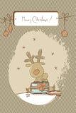 Reindeer christmas card. Cute baby reindeer, merry christmas label,  cartoon christmas card Stock Photos