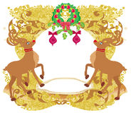 Reindeer Christmas card design Stock Images