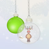 Reindeer in the Christmas crystal ball Stock Photography