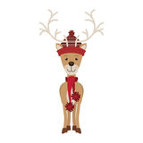 Reindeer with christmas decoration standing Stock Photos