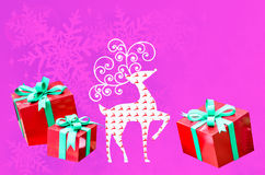 Reindeer christmas with gift box with space for your text Stock Photography