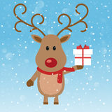 Reindeer christmas gift box Royalty Free Stock Photography