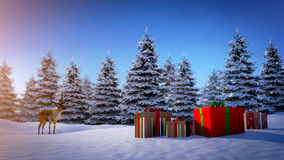Reindeer and christmas gifts Royalty Free Stock Images