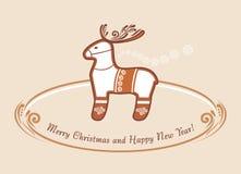 Reindeer. Christmas gingerbread. Vintage postcard Stock Photo