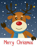 Reindeer Christmas Greeting Card. Merry Christmas card with a cute reindeer smiling and greeting, with snow and stars in the blue sky. Eps file available Stock Images