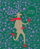 Reindeer christmas illustration. CVector illustration with cute deer on decorative background with gift boxes Stock Photography