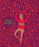 Reindeer christmas illustration. Vector illustration with cute deer on decorative background with gift boxes Stock Photos