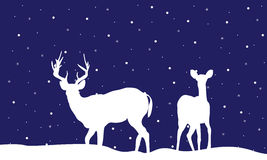 Reindeer Christmas landscape of silhouettes. Collection stock Stock Illustration