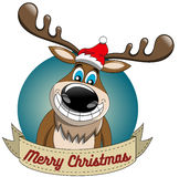 Reindeer Christmas Merry Xmas Round Frame Stock Images