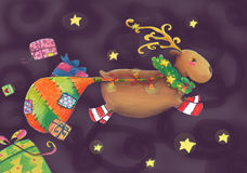 Reindeer in the christmas night. Artistic illustration of a reindeer which flys in the Christmas night, violet background with stars and coloured gifts. Pastels Royalty Free Stock Photography