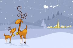 Reindeer in Christmas Night. Illustration of Reindeer in Christmas Night Stock Images