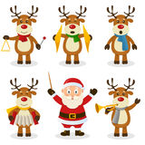 Reindeer Christmas Orchestra Set. A funny cartoon Christmas orchestra with five cute reindeer characters playing musical instruments and Santa Claus as orchestra