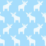 Reindeer Christmas pattern on light blue background. Simple seamless Happy New Year background. Winter holidays vector design for textile, wallpaper, web Stock Image