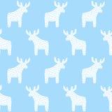 Reindeer Christmas pattern on light blue background. Stock Image