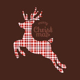 Reindeer Christmas in plaid fabric Stock Image