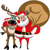 Reindeer Christmas Santa Claus Hug Isolated Stock Photo