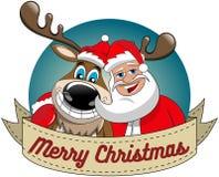 Reindeer Christmas Santa Claus Hug Merry Xmas Round Frame Royalty Free Stock Image