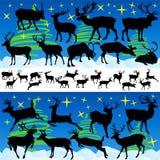 Reindeer Christmas Silhouettes Stock Image