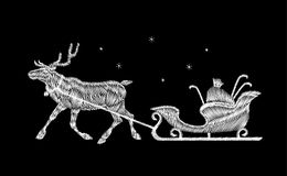 Reindeer Christmas sleigh gift delivery embroidery patch. White black New Year fashion decoration deer cart textile Stock Image