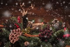 Reindeer in a christmas table decoration Stock Image
