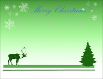 Reindeer and Christmas tree. Abstract green illustration with reindeer, christmas tree and snowflakes Stock Images