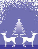 Reindeer and Christmas Tree Stock Photos