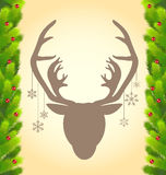 Reindeer and Christmas tree background Stock Images