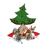 Reindeer with christmas tree and gifts Royalty Free Stock Image