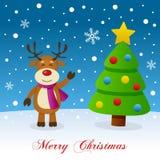 Reindeer & Christmas Tree on the Snow Stock Image