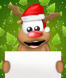 Reindeer  Christmas with white board Royalty Free Stock Photos