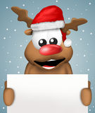 Reindeer  Christmas with white board Royalty Free Stock Photo