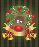 Reindeer in Christmas Wreath Illustration Royalty Free Stock Photo